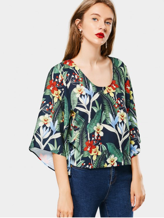 women's Kimono Sleeve Floral Cut Out Blouse - FLORAL L