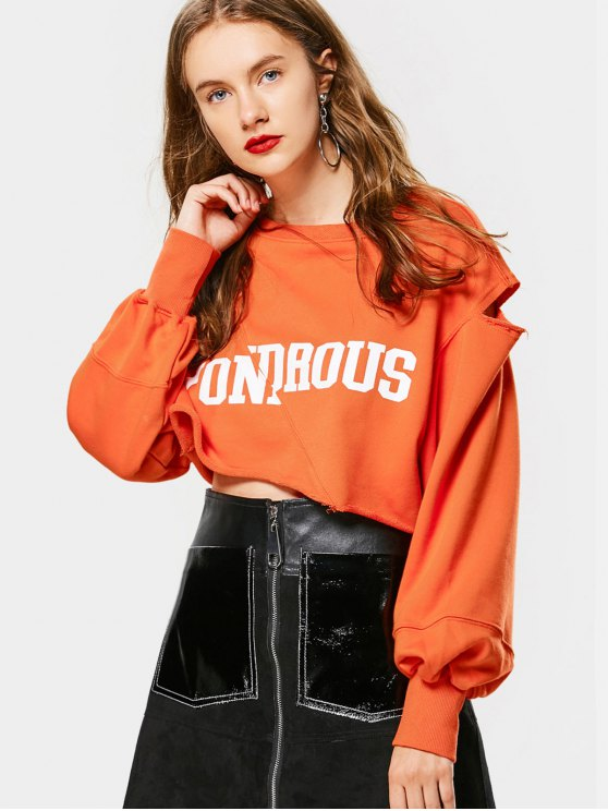 Crop Cutout Buchstabe-Sweatshirt - orange pink  L