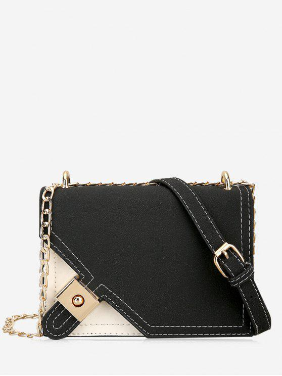 Metal Embellished Chain Color Block Crossbody Bag - Preto
