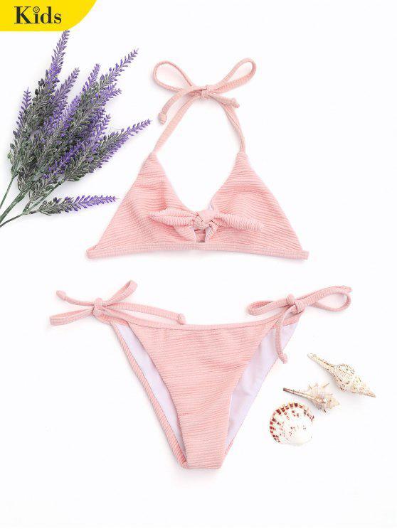 Ribbed Texture Halter Tied Kid String Bikini - Rosa Claro 7T