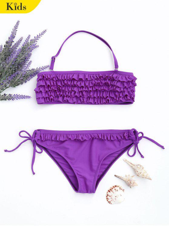 womens Ruffles Tiered Kids String Bikini - PURPLE 5T