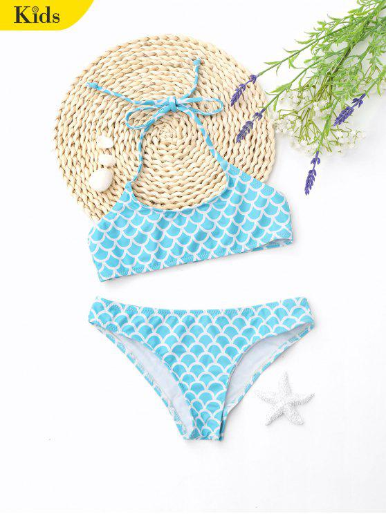 ladies Halter Fish Scale Print Kids Bikini - LIGHT BLUE 4T