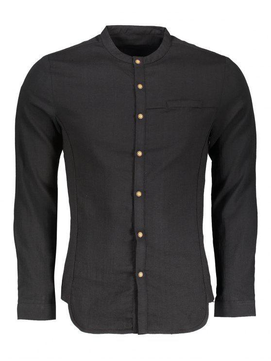 Camisa com botão de colar de pé - Preto XL