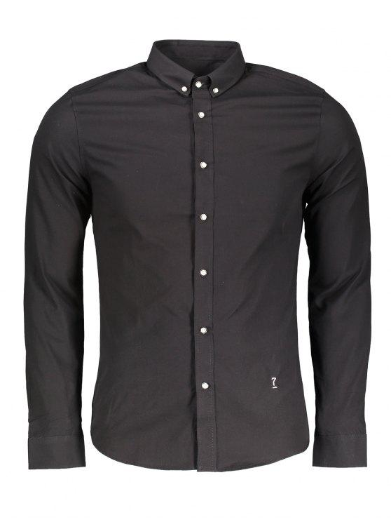 sale Button Down Formal Shirt - BLACK 3XL