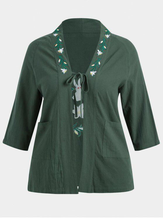 womens Plus Size Flower Embroidered Kimono - DEEP GREEN 3XL