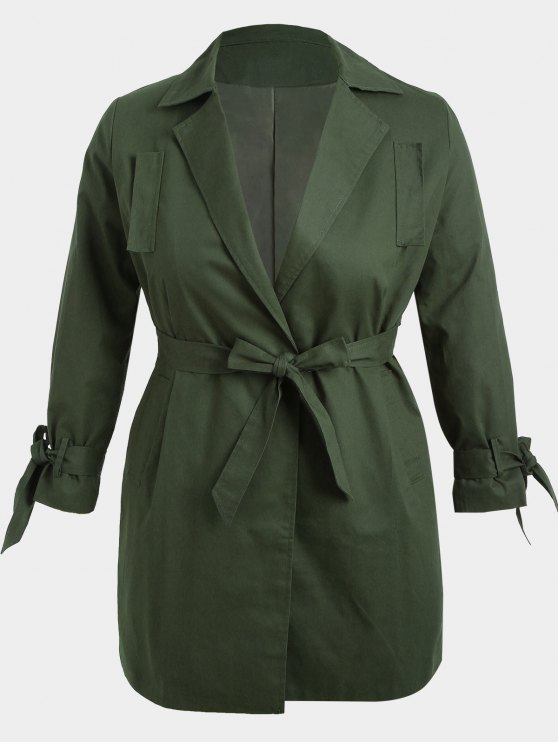 Plus Size Wrap Coat - Verde Dell'esercito 3XL