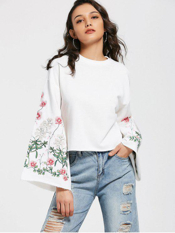 fancy Flare Sleeve Floral Embroidered Sweatshirt - WHITE S