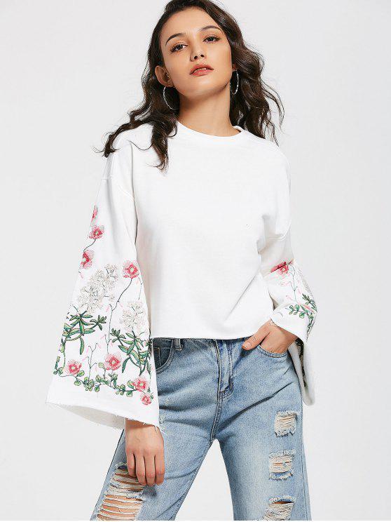 Sweat-shirt Brodé Floral Manches Évasées Coupé - Blanc S