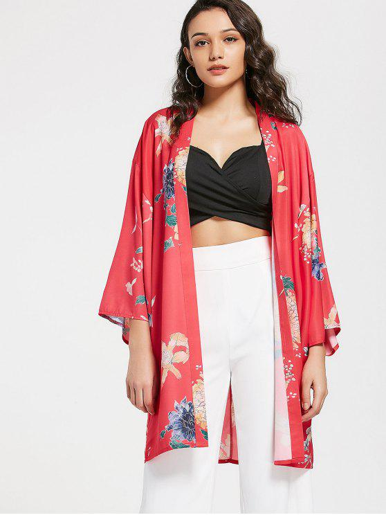 womens Floral Loose Open Front Kimono Blouse - FLORAL M