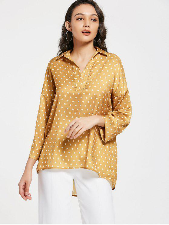 new Loose Polka Dot High Low Blouse - YELLOW S