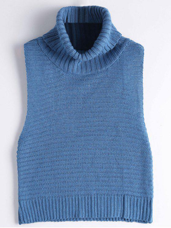 Sleeveless Turtleneck Sweater - Blue