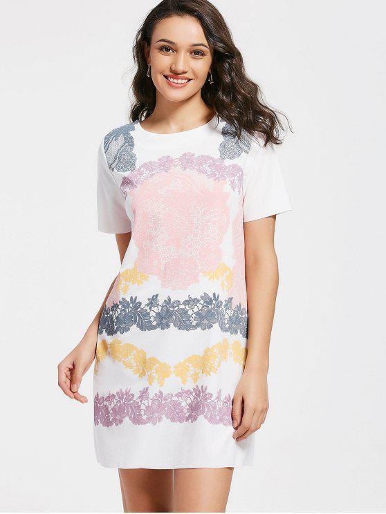Robe T-shirt Courte à Motif à Manches Courtes - Blanc M