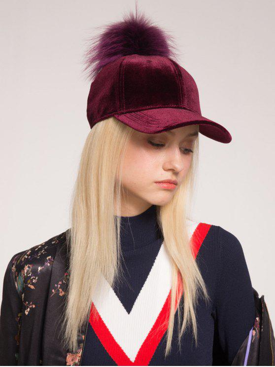 Chapeau de baseball en velours Embellished Pompon Ball - Rouge vineux
