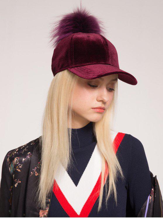 Chapeau de baseball en velours Embellished Pompon Ball - Rouge vineux