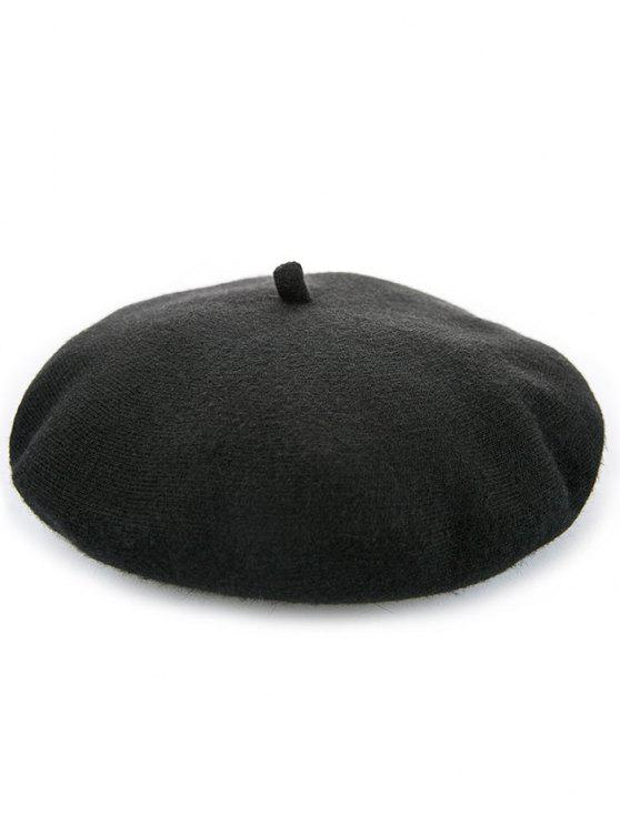 shops Woolen Blending Warm Pumpkin Painter Cap - BLACK