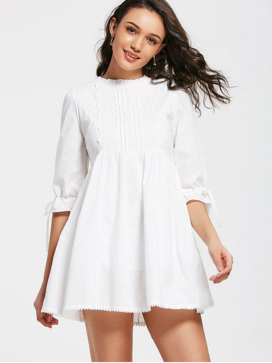 Arco de encaje atado de ala volantes mini vestido - Blanco M