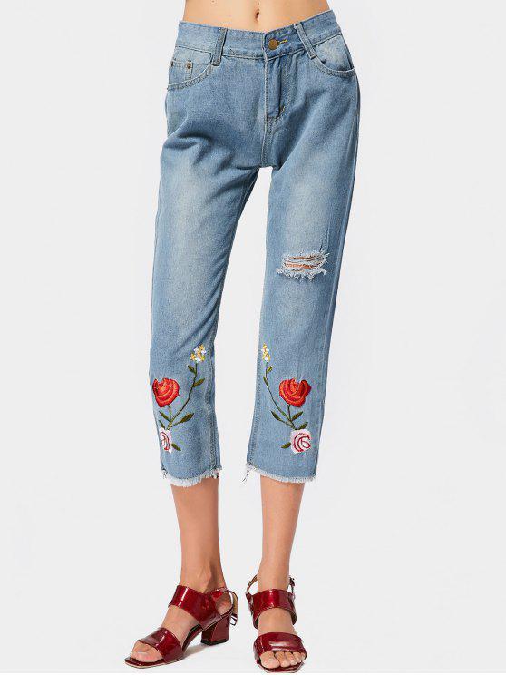 Pantalones vaqueros rasgados bordados florales del dobladillo - Azul Claro S