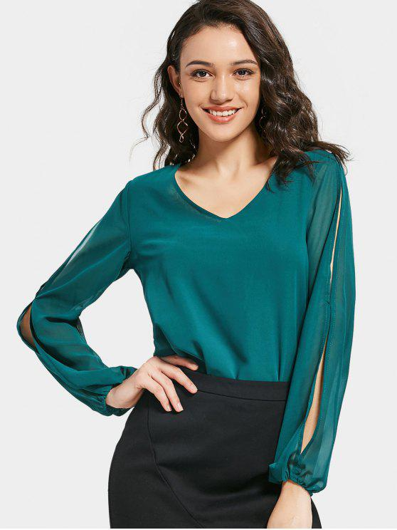 V Neck Split Sleeve Chiffon Blouse - Green S