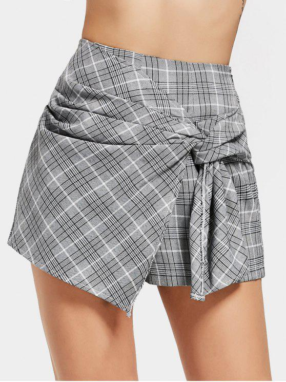 lady Bow Tied Checked High Waisted Skorts - CHECKED M