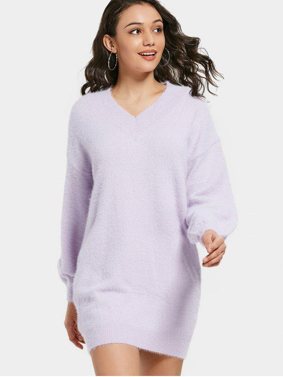 latest V Neck Lantern Sleeve Sweater Dress - LIGHT PURPLE L