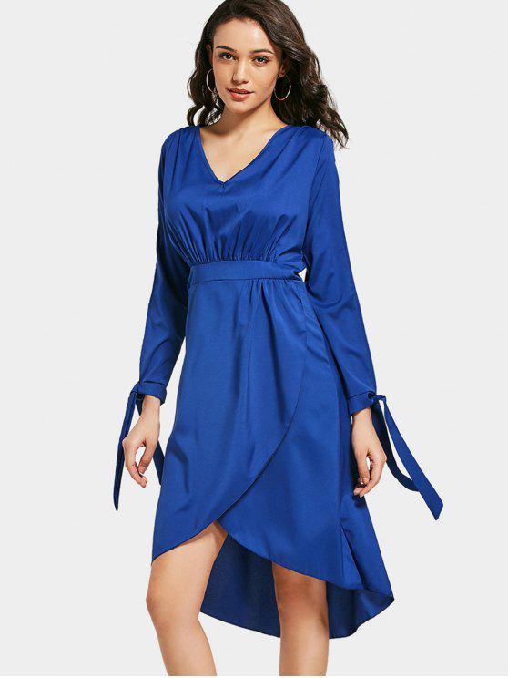 فستان ميدي ذو فتحات انقسام الأكمام - ازرق غامق L