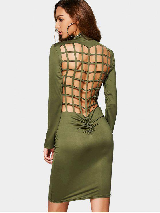 fashion Ruched Back Cut Out Club Bodycon Dress - ARMY GREEN S