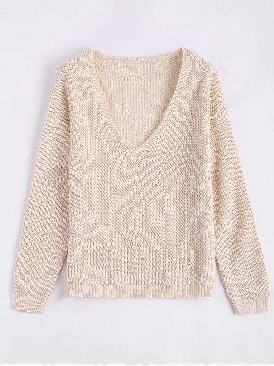 Pull Simple à Col Plongeant - Beige Taille Unique