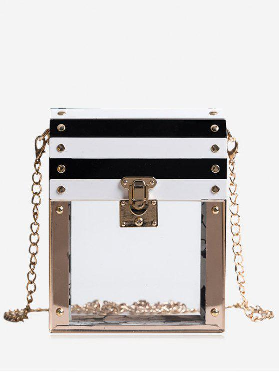 unique Chain Striped Pattern Box Shaped Crossbody Bag - TRANSPARENT