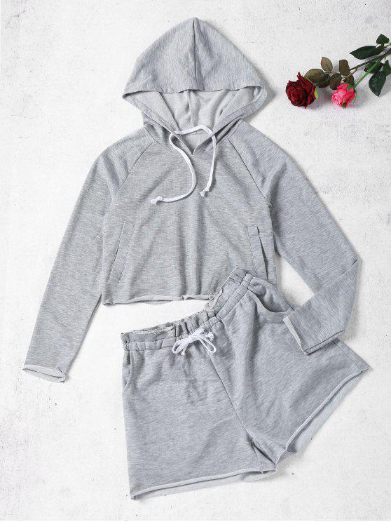 Marled Hoodie y pantalones cortos de sudor - Gris M