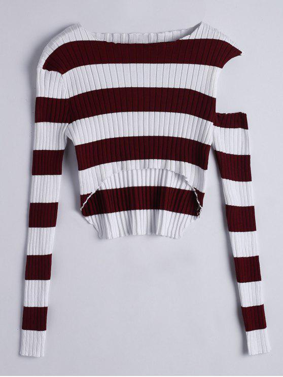 Tricot à Rayures Cut Out Asymétriques - Pourpre Taille Unique