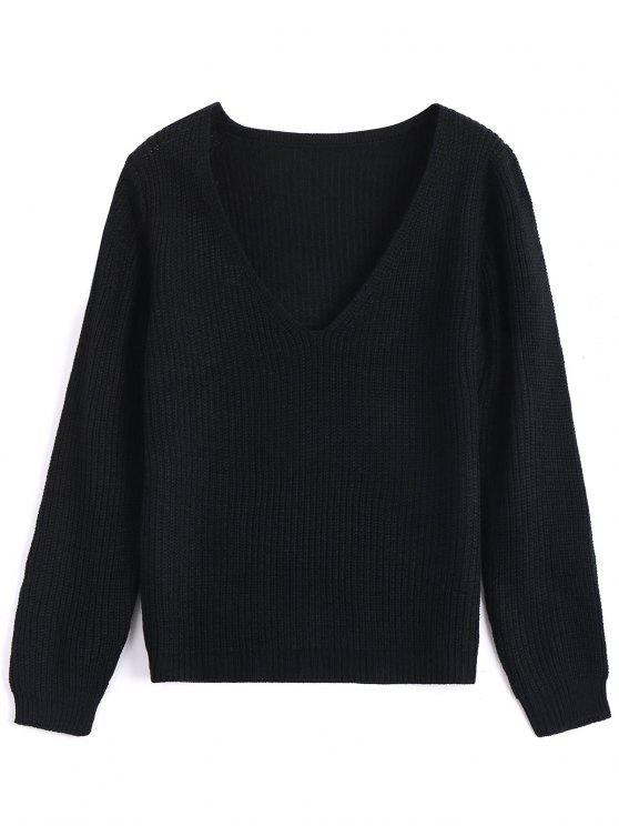 buy Plunging Neck Plain Sweater , BLACK ONE SIZE