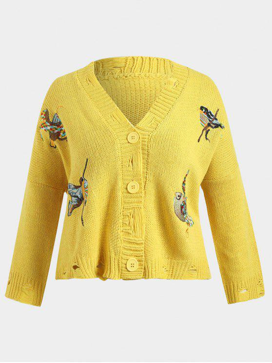 women's Chunky Distressed Embroidered Plus Size Cardigan - YELLOW ONE SIZE