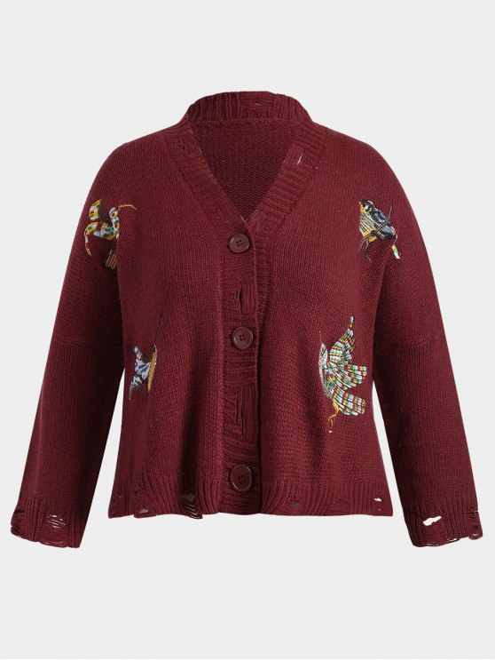 ladies Chunky Distressed Embroidered Plus Size Cardigan - RED ONE SIZE