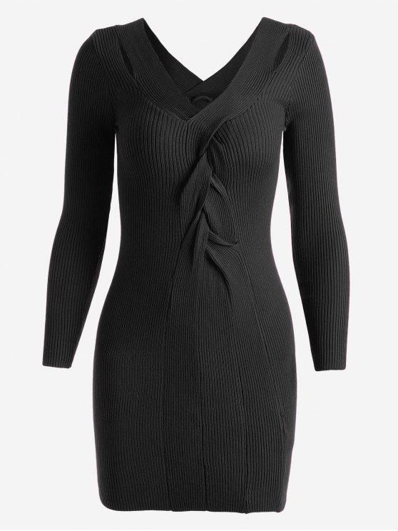 Vestido de punto con cuello en V - Negro Única Talla