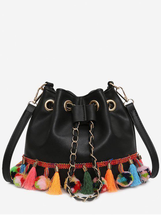 fancy Tassels Pom Pom Drawstring Bucket Bag - BLACK