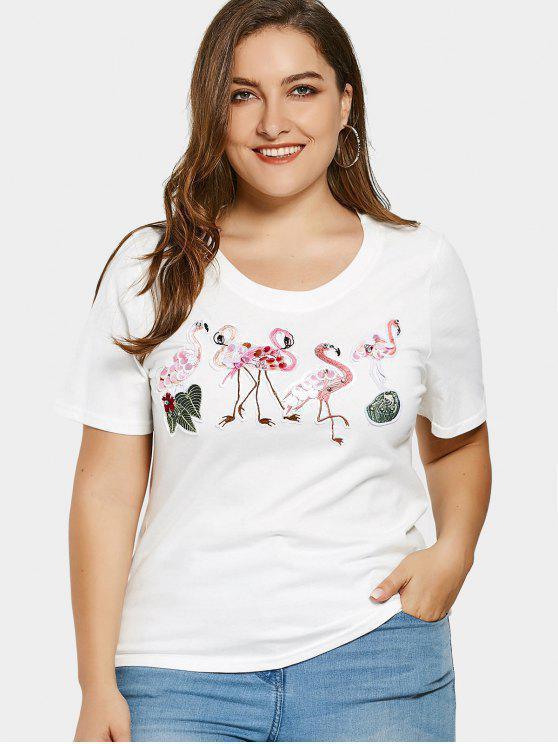 shops Sequins Flamingo Patch Plus Size T-shirt - WHITE 2XL