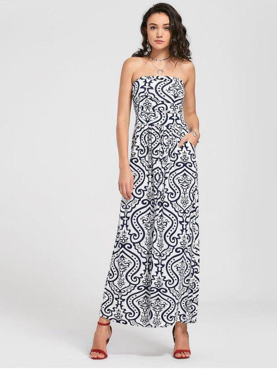 fancy Strapless Paisley Print Maxi Dress - WHITE XL