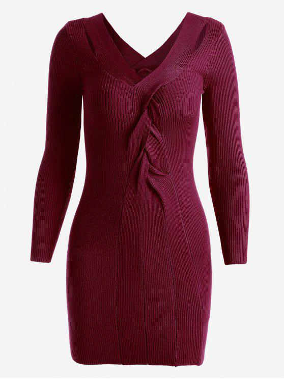 unique Twisted V Neck Knitted Dress - WINE RED ONE SIZE