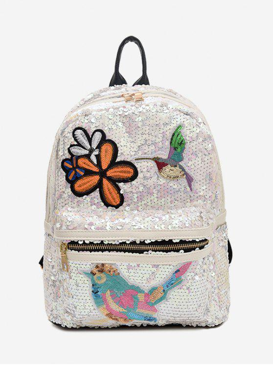 Bordados Sequins Zippers Backpack - Branco