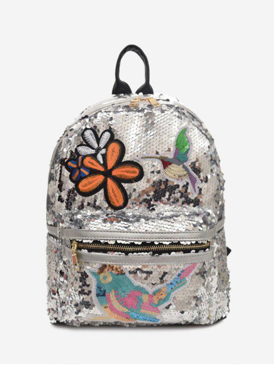 Rucksack mit Paillette, Stickerei und Reißverschluss - silber