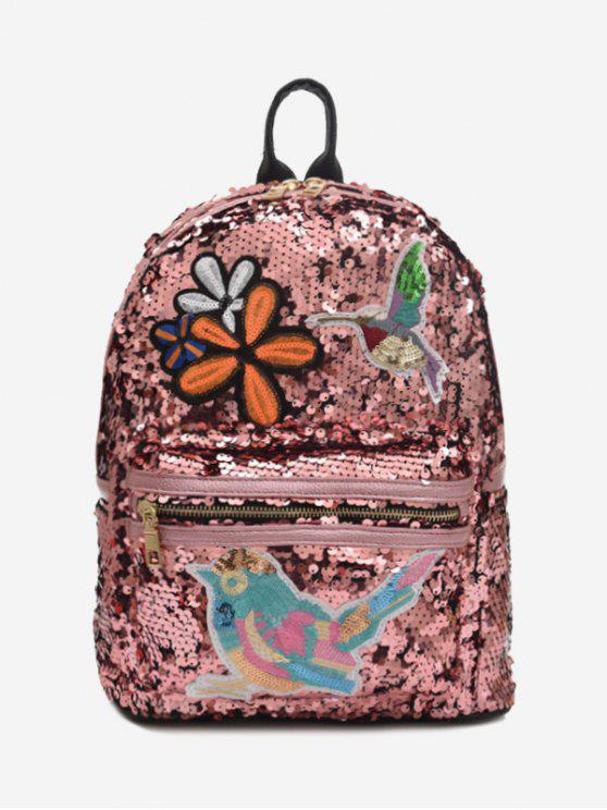 Bordados Sequins Zippers Backpack - Rosa