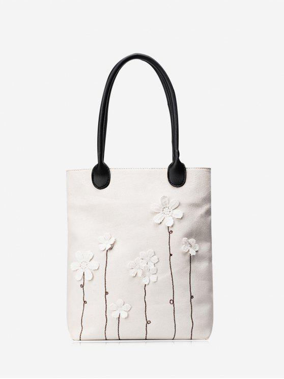 Canvas-Blumen-Verzierung-Schulter-Beutel - Weiß
