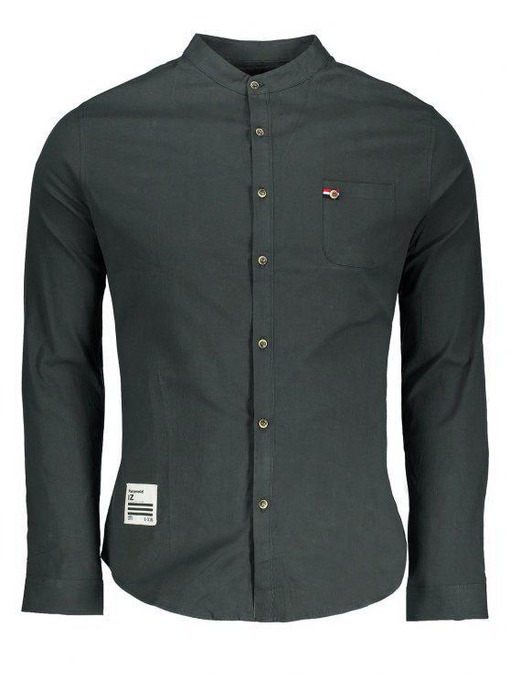 Camisa de botão de bolso frontal - Cinza 3XL