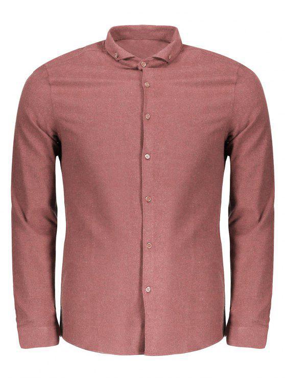 Camisa de franela de botones - Castaño-Rojo 3XL