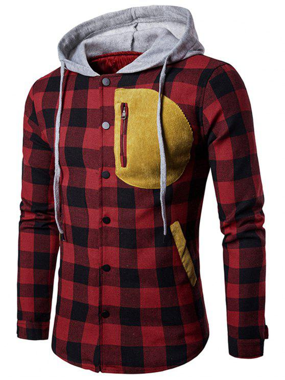 trendy Contrast Trim Tartan Plaid Hoodie - BLACK RED M