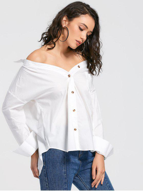 hot Convertible Collar Button Up Pocket Blouse - WHITE S
