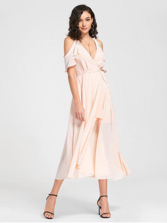 women Cold Shoulder Plunging Neck Wrap Dress - LIGHT PINK XL
