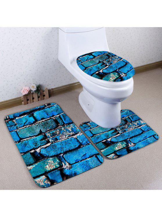 3pcs Flannel Brick Print Bathroom Toilet Mats Set Blue