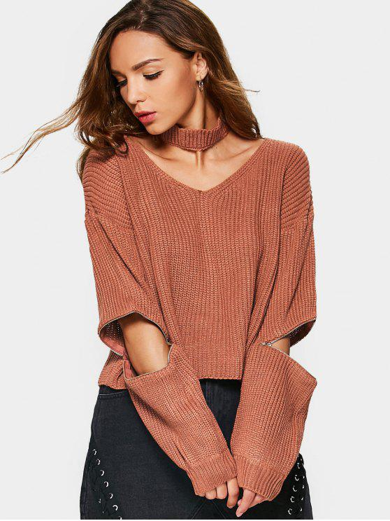 sale Zipper Sleeve Chunky Choker Sweater - SPICE ONE SIZE