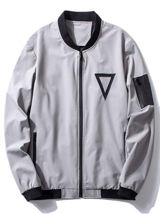 shop Stand Collar Triangle Embroidered Bomber Jacket - GRAY 3XL